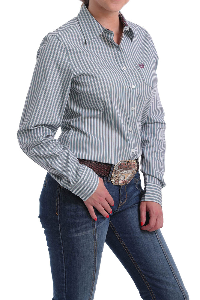 Cinch Women's Teal & White Striped Button Up Western Shirt MSW9164127