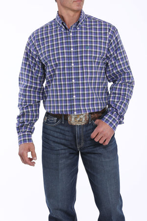 Cinch Men's Purple & Dark Teal Plaid Button Up Western Shirt MTW1104865
