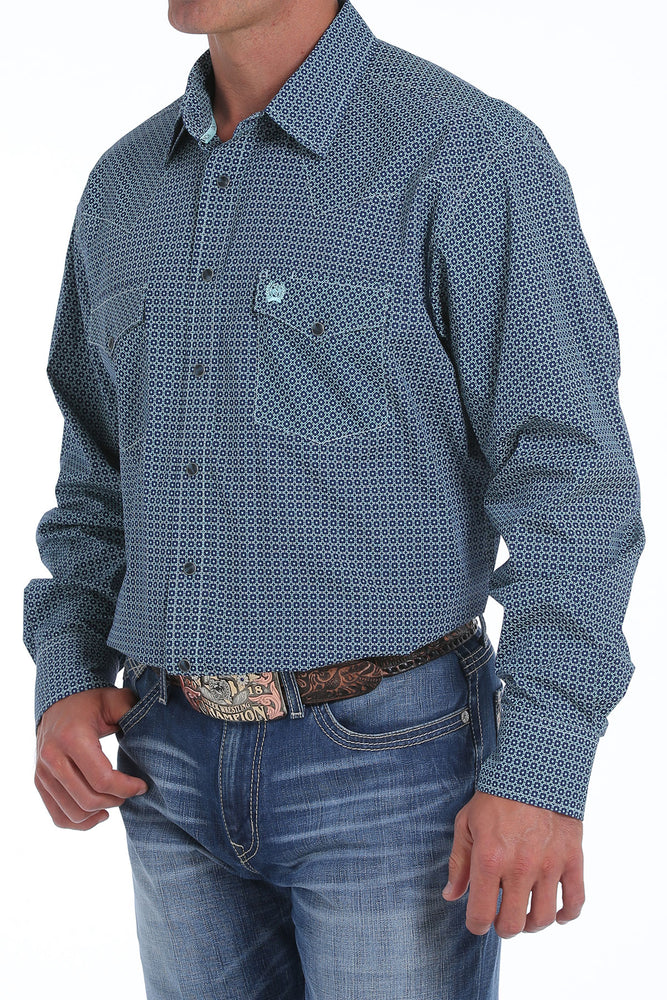 Cinch Men's Navy & Teal Printed Snap Up Western Shirt MTW1682009 - Painted Cowgirl Western Store