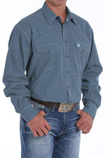 Cinch Men's Navy & Teal Printed Snap Up Western Shirt MTW1682009