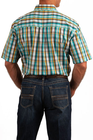 Load image into Gallery viewer, Cinch Men's ArenaFlex Turquoise & Yellow Multi Color Plaid Short Sleeve Shirt MTW1704046