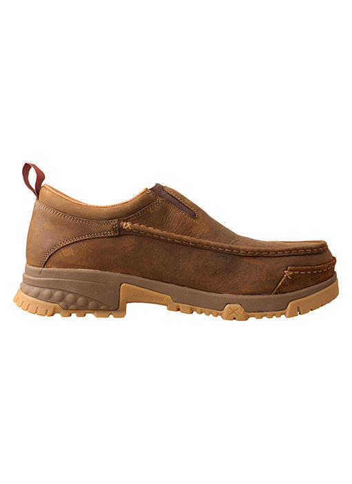 Twisted X Men's Distressed Brown Comp Toe CellStretch® Slip On Moc MXCC003 - Painted Cowgirl Western Store