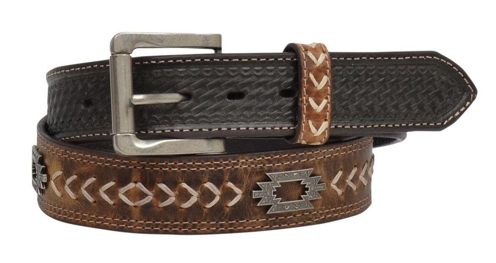 3D Men's Distressed Light Brown Concho Leather Belt D7402