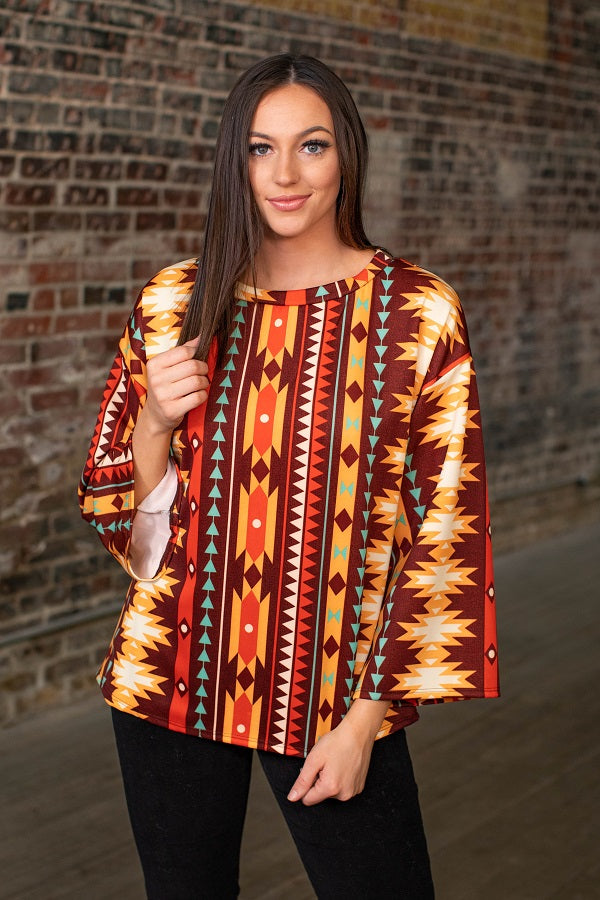 Women's Brown And Orange Serape Bell Sleeve With Round Hem Top NTO55AZTC