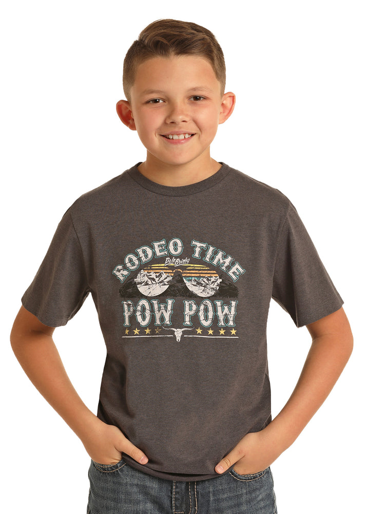 Rock & Roll Cowboy Boy's Black Rodeo Time Graphic Tee P3T409