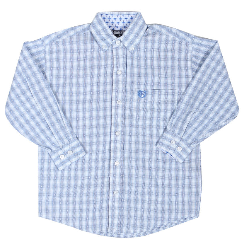 Panhandle Slim Boys' White & Blue Dobby Check Button Up Western Shirt C0D7163
