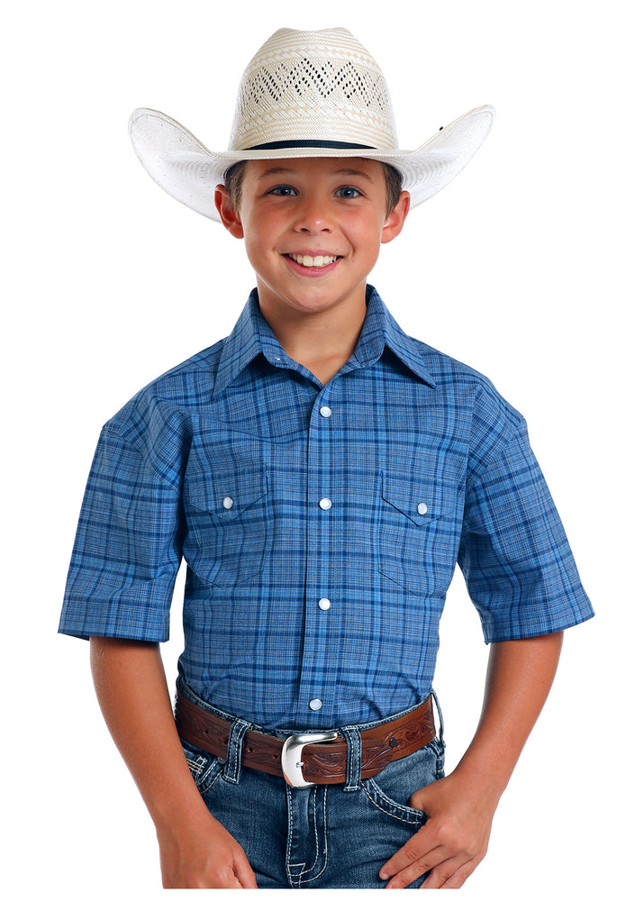 Panhandle Slim Boy's Blue Plaid Short Sleeve Snap Up Shirt R3S5758 - Painted Cowgirl Western Store