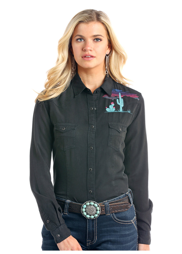 Panhandle Slim Women's Black Desert Cactus Snap Up Western Shirt R4F2159 R4X2159
