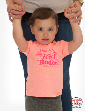 Cowgirl Tuff Infant Girl's Coral My First Rodeo Graphic Tee S01100 - Painted Cowgirl Western Store