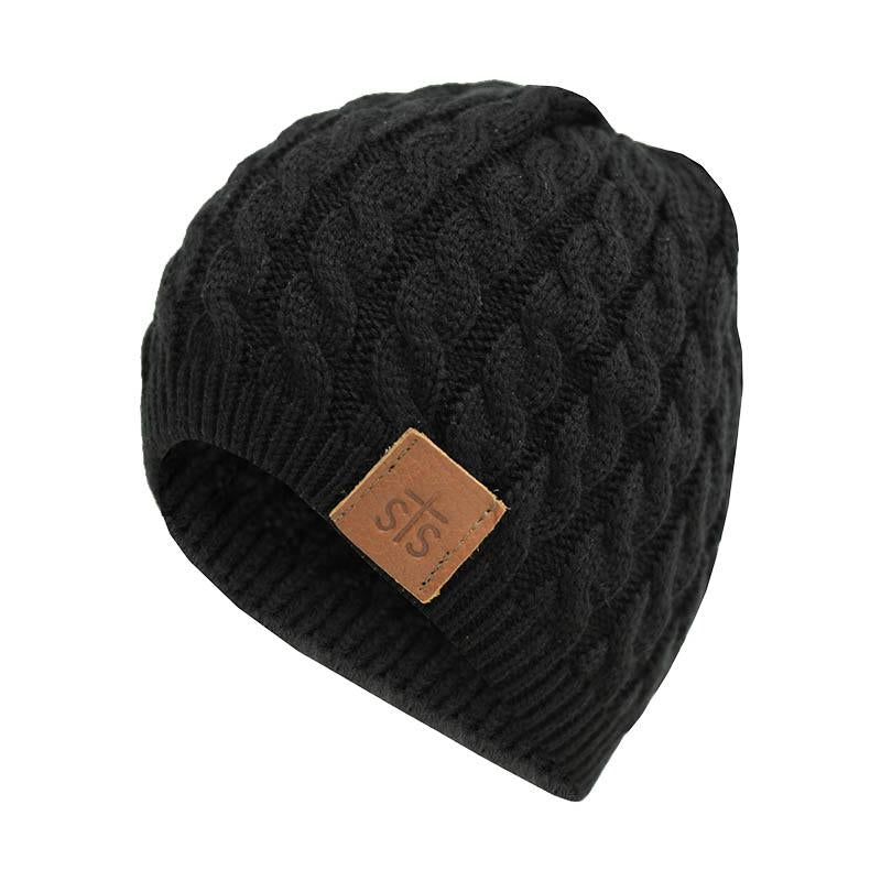 STS Ranchwear Black Cable Knit With Leather Patch Beanie STS2138BK