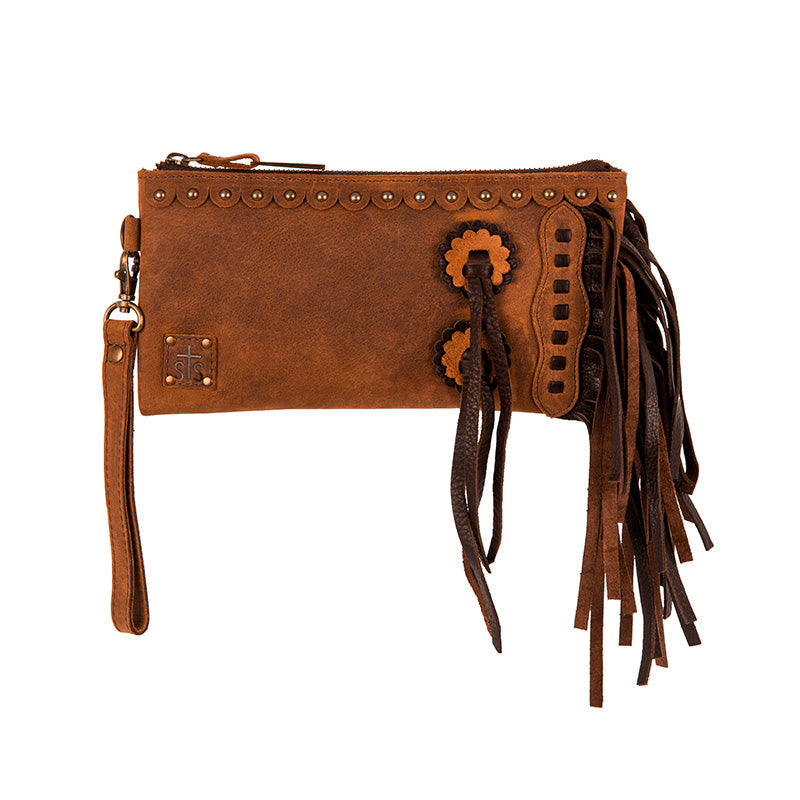 STS Ranchwear Tornado Chaps Brown Leather Clutch Purse STS31115