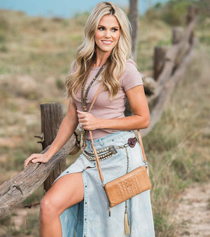 Load image into Gallery viewer, STS Ranchwear Marlowe Caramel Leather Crossbody/ Clutch Purse STS33064
