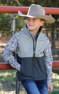 Cinch Boy's Bonded Charcoal and Gray Vest MWV7920001
