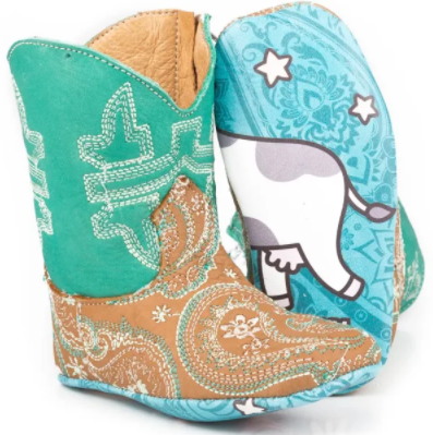Tin Haul Infant Girl's Leather Lil Paisley Cow Cowboy Boots 0103