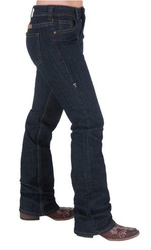 Load image into Gallery viewer, Cowgirl Tuff Women's Just TUFF Dark Bootcut Jeans JTUFDW