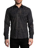 Affliction Men's Conjure Woven Brown Long Sleeve Button Down Shirt 110WV840
