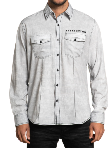 Affliction Men's Tried And True Woven Grey Long Sleeve Button Down Shirt 110WV835