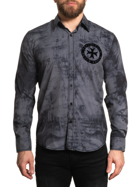 Affliction Men's Salvation Woven Charcoal Heather Long Sleeve Button Down Shirt 110WV844