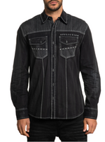 Affliction Men's Cobra Woven Black Long Sleeve Button Down Shirt 110WV831