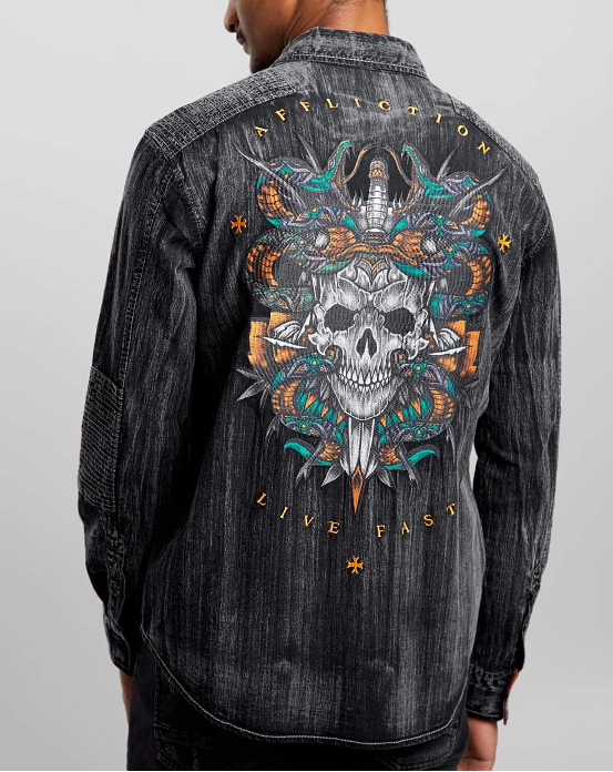 Affliction Men's Despise Woven Black Long Sleeve Button Down Shirt 110WV859