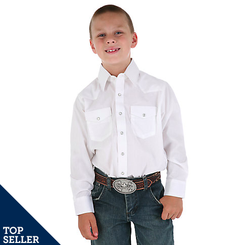 Wrangler Boys' Long Sleeve White Snap Up Western Shirt 204WHSL - Painted Cowgirl Western Store