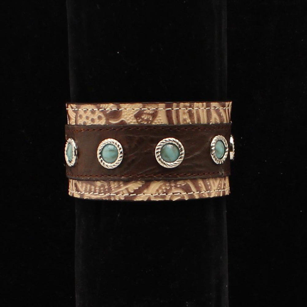Silver Strike Tooled Leather Cuff Bracelet DBR657 - Painted Cowgirl Western Store