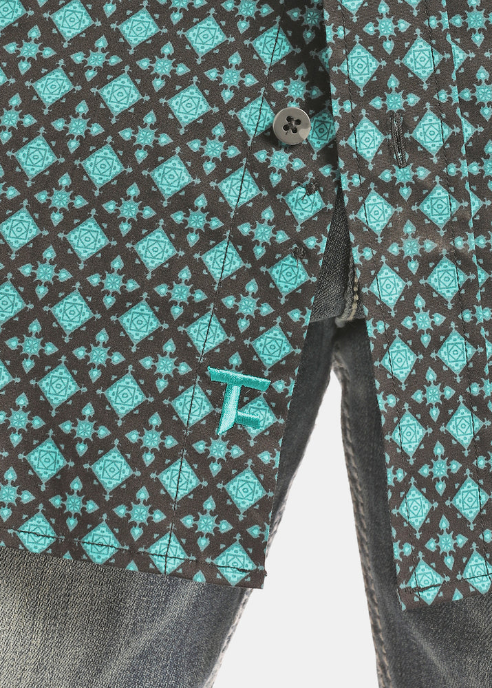 Load image into Gallery viewer, Panhandle Slim Men's Tuf Cooper Black & Turquoise Printed Button Up Shirt TCD2616 - Painted Cowgirl Western Store
