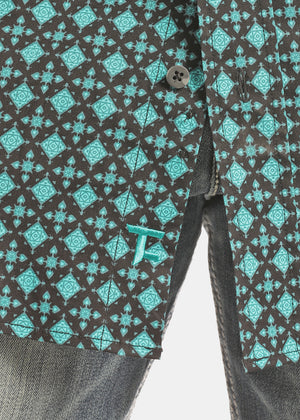 Panhandle Slim Men's Tuf Cooper Black & Turquoise Printed Button Up Shirt TCD2616