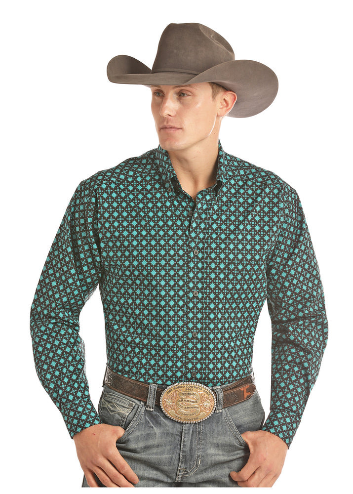 Load image into Gallery viewer, Panhandle Slim Men's Tuf Cooper Black & Turquoise Printed Button Up Shirt TCD2616