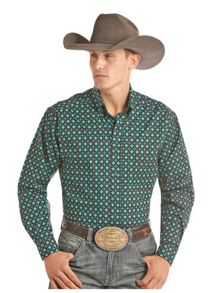 Panhandle Slim Men's Tuf Cooper Black & Turquoise Printed Button Up Shirt TCD2616 - Painted Cowgirl Western Store