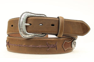 Top Hand Men's Barbed Wire Design Brown Leather Belt N2474644 - Painted Cowgirl Western Store
