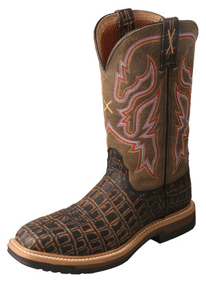 Twisted X Women's Caiman Print Composite Square Toe Work Boots WLCC001 - Painted Cowgirl Western Store