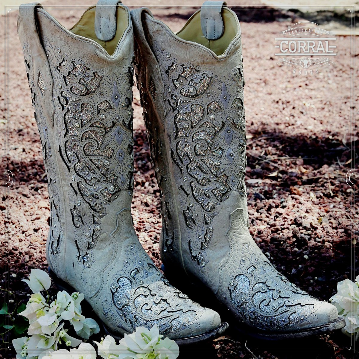 1dfd7a8b725c Corral Ladies White Glitter Inlay And Crystals Wedding Boots A3322 ...
