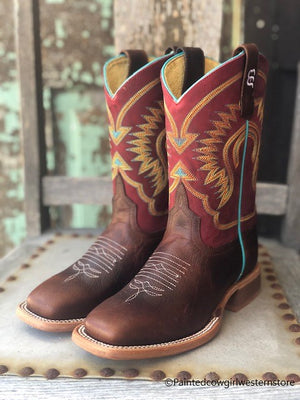 Anderson Bean Youth Moka Pitbull Brown & Burgundy Square Toe Boots ABK7062 - Painted Cowgirl Western Store
