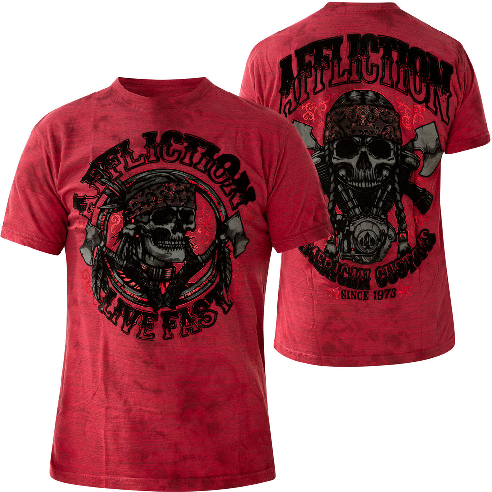 Affliction Men's Iron Chief Cherry And Dark Cherry Crystal Wash Short Sleeve Tee A23567