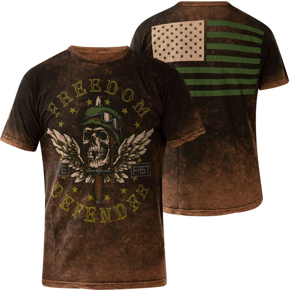 Affliction Men's Angel Of Doom Black And Brown Lava Tint Short Sleeve Tee A23289