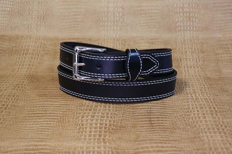 Allegheny Leather Men's Black Full Grain Leather Belt 2354