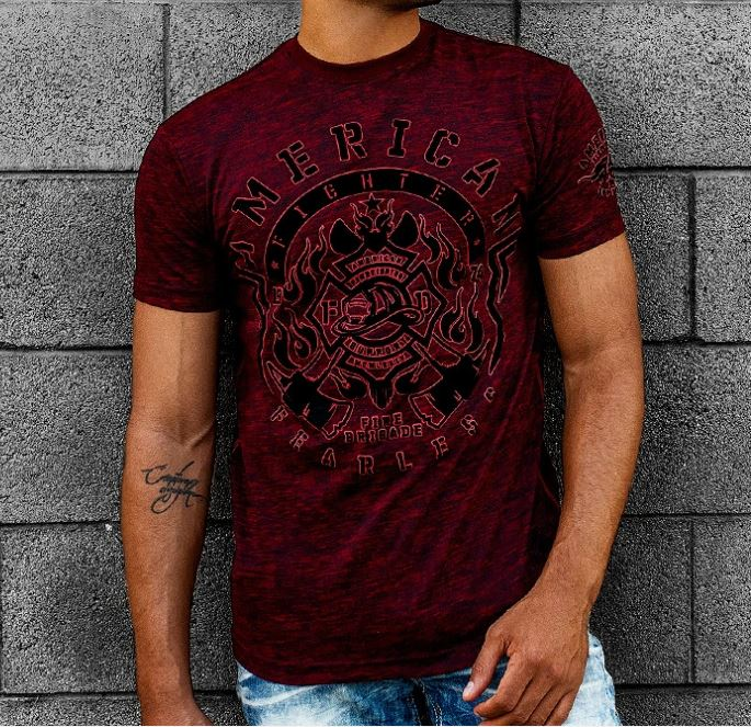 American Fighter Men's Rusted Red Firefighters Bovill Tee FM11165