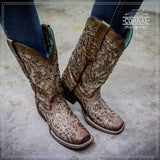 Corral Women's Orix Brown Glittered Inlay & Studs Square Toe Boots C3275