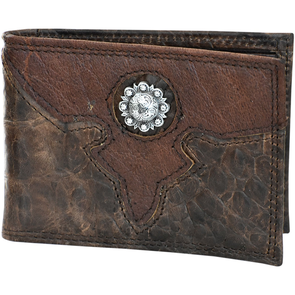 Roper Brown Leather Croc Print Concho Money Clip 8041000