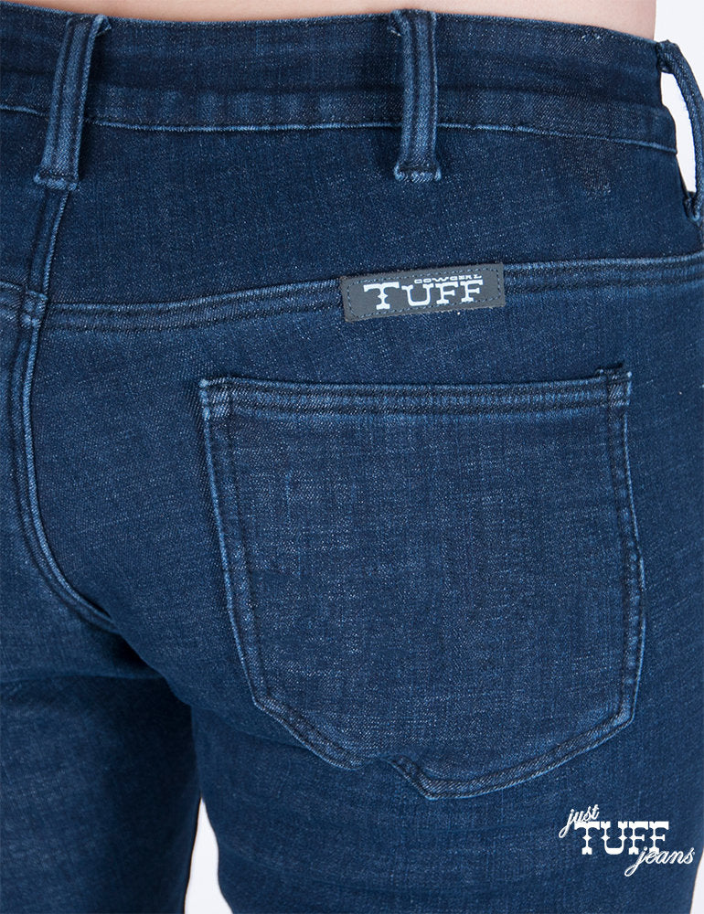 Cowgirl Tuff Flex Women's Relaxed Fit Dark Wash Cell Phone Pocket Jeans SPORT