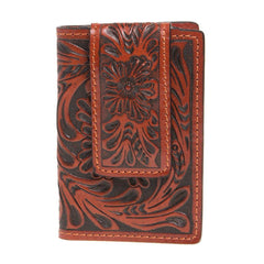 3D Deep Tan Tooled Leather Money Clip W-67