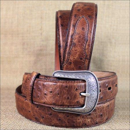 3D Belts Men's Brown Vintage Ostrich Print Leather Belt 1654