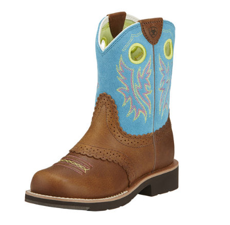 Ariat Childrens/Youth Brown Leather and Turquoise Fatbaby Cowgirl Boots 10016241