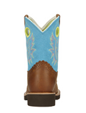Ariat Youth Brown Leather and Turquoise Fatbaby Cowgirl Boots 10016241