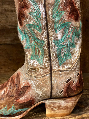 Load image into Gallery viewer, Dan Post Women's All Eyes On Me Brown & Silver Metallic Snip Toe Boots DP3773