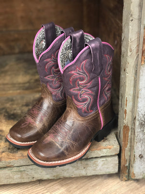 "Dan Post Kid's ""Majesty"" Brown/Purple Leather Cowgirl Boots DPC2947 DPC3947 DPC1947 - Painted Cowgirl Western Store"