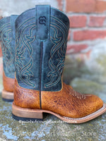 Anderson Bean Youth Tan & Aqua Square Toe Western Boot ABK1113