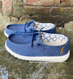 Hey Dude Wendy Youth Linen Sparkling Denim Casual Shoes
