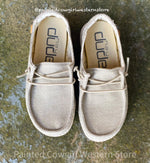 Hey Dude Wendy Youth Linen Beige Casual Shoes 130120521